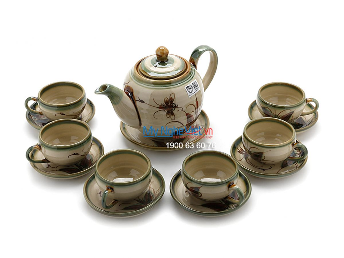 Bat Trang Tea set with Glossy Glaze, Dragonfly Pattern and Pottery Strap MNV-TS029-3
